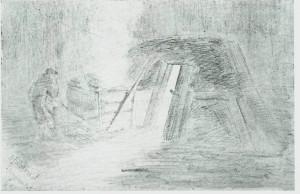 Koia var tømmerhoggerens primitive bolig. Fra Julskaret ved Slindvatnet. Etter tegning av Alstad (1885).