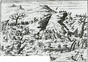 Karolinernes undergang i Tydalsfjella. Etter et fantasifullt bilde i en gammel tysk avis.