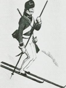 Skiløpersoldat fra Trøndelag. Etter tegning av J.F.L. Dreier.