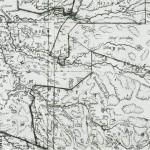 Militærkart fra 1749 med grenser for kompanidistrikta. Veleiene er tegnet med tynne, prikkede linjer.