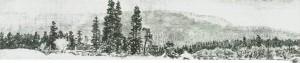 Vinters dag fikk elver i maleri tjene som fordselsårer. Etter Nils Hansteens «Fra Selbu» (1885).