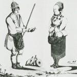 En selbygg med sin kone. Etter tegning av J.F.L. Dreier.