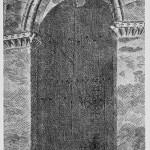 En kassert dør fra kirken fikk i hundreår tjene som dør for tårninngangen. Etter tegning av H. Mathisen.