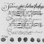 Fra fogdregnskapet 1687. Tiendesummene med sogneprest Christian Blochs og seks menns signeter.