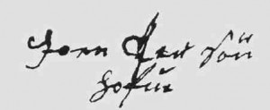 Joen Persøn Hofues underskrift.