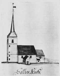 Selbu kirke. Etter tegning av G. Schøning.