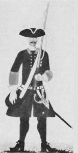Trøndersk infanterist fra omkring 1700.