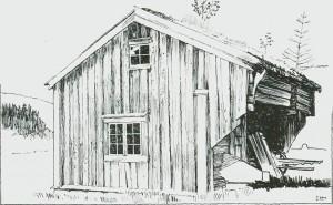 «Stuggu» på Brumoen, Rolsel. Opprinnelig bolig for en gruveknekt og hans familie. Etter tegning av Jac. Hansen.