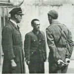 Konfrontasjon etter krigen. Tormod Morset (t.h.) og Rinnan. Foto: Schrøder.