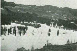 Innbygda under flommen i 1934.