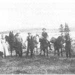 Kløvjing til Gammelvollen. Fra venstre ser vi Gudrun Guldset, Orsgarden, Ragnhild Guldset, Johan Slind, Sivert J. Aftret, Nils E. og Esten N. Guldseth.