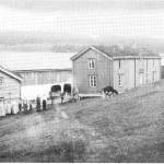 Onnfolket i Nordigarn 1915.  Fra venstre: Sigrid Kulvik, Marit S. Aftret, Ane J. Aftret, Ane B. Aftret, Johan J. Aftret, John O. Aftret, Petter P. Aftret, Nils N. Aftret, Brunen, Jon J. Aftret, Krone, heimku.
