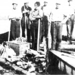Tømmersortering ved Hoøya like etter andre verdenskrig. Otto Larsen, Halvard A. Nervik, John Viken, Gunnar O. Slind, Sigvart Slind, Olav P. Aftret.