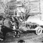 I 1902 reiste Dordi Jonsdt. Storodd til Amerika og her står kofferten på vogna.