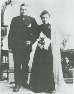 Ola Haldorsen og Ingeborg Bardosdt. som brurfolk.