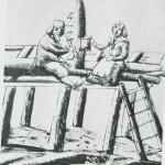 Håndsager filer sagbladet mens kona kvikker  ham opp med øl. Etter glassmaleri fra 1715.