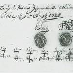 Underskrifter på et tingsvitne med fogd og sorenskrivers signeter og de åtte lagrettemenns bumerker.