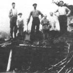 Tjurrubrenning på Stor-Siribakken på Mogarden i 1930. Fra venstre: Baro Mogård, Martin Moslet, brennbas Ingvard Moslet, Fredrik Moslet, Ingeborg Moslet (Hegset) og John J. Mogård.