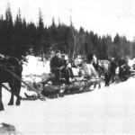 Tømmerkjøring fra Østrungen i 1946 - Johan Uthus og Lars Mogård.